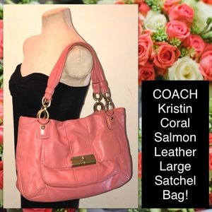 COACH Kristin Coral Salmon Leather Lg Satchel Bag!